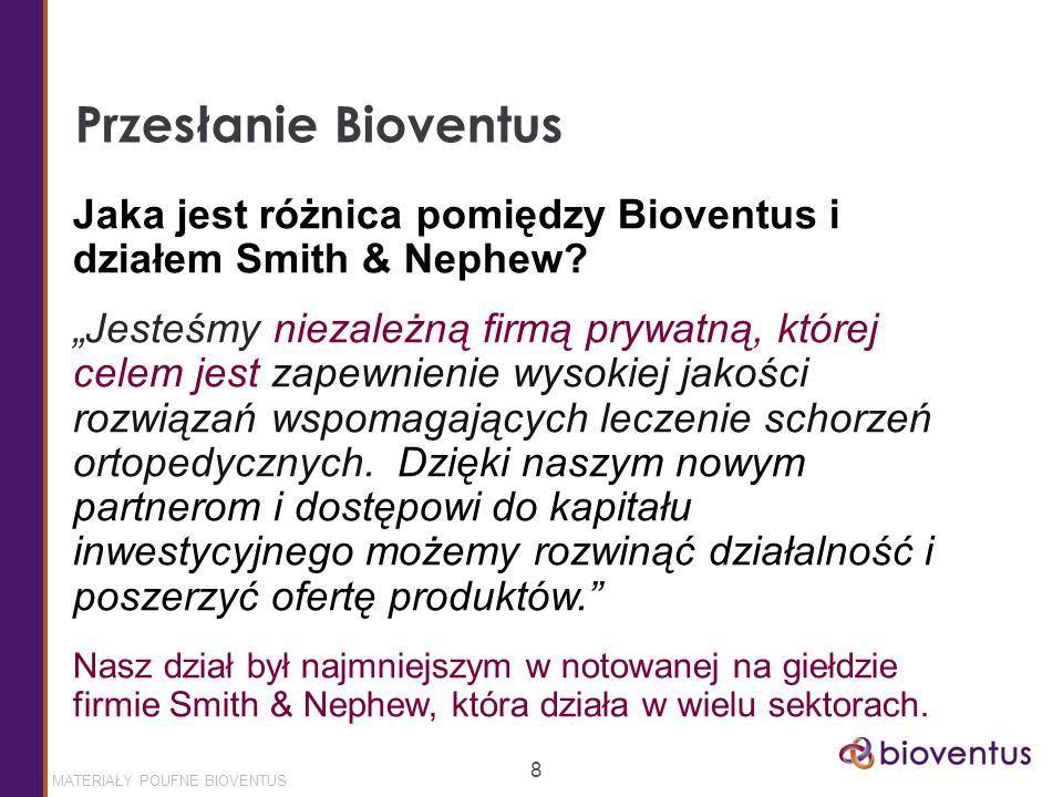 MATERIAŁY POUFNE BIOVENTUS 8 Przesłanie Bioventus Jaka jest różnica pomiędzy Bioventus i działem Smith & Nephew.