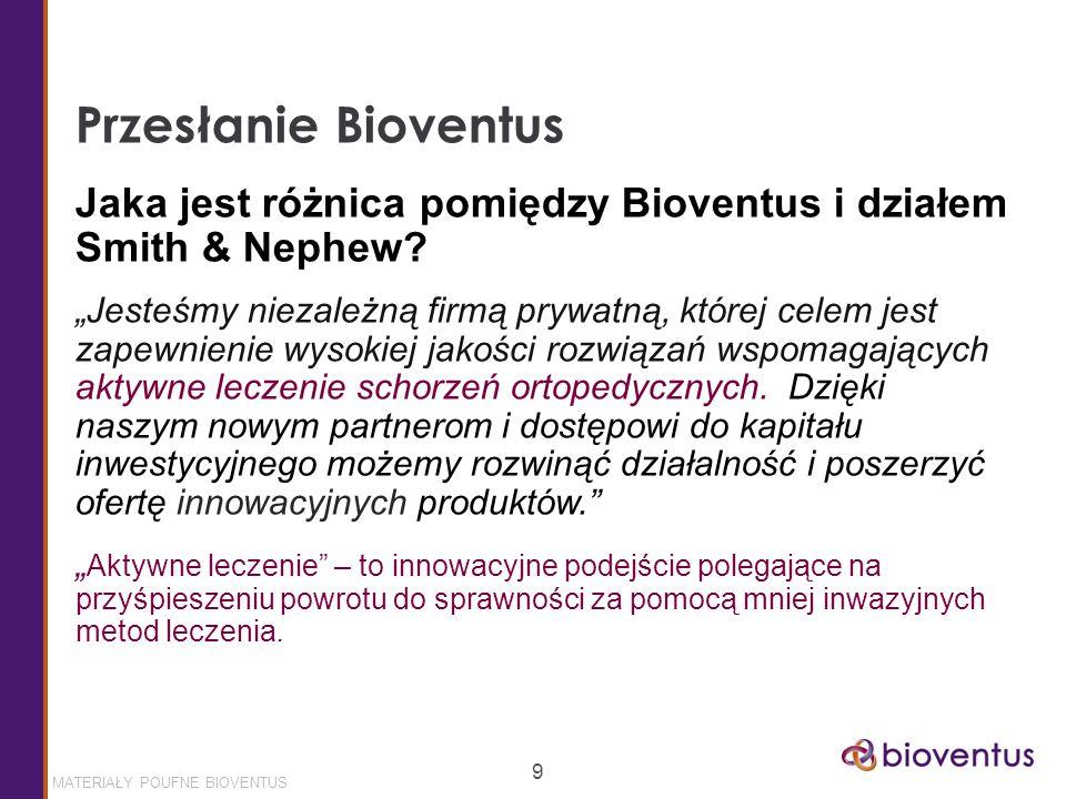 MATERIAŁY POUFNE BIOVENTUS 9 Przesłanie Bioventus Jaka jest różnica pomiędzy Bioventus i działem Smith & Nephew.