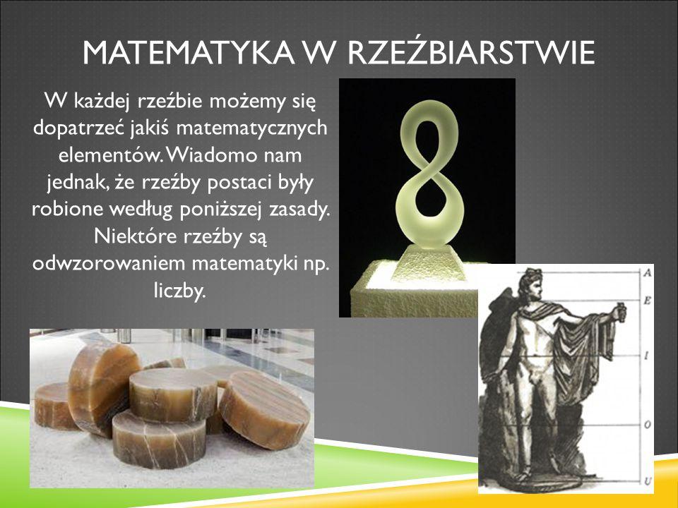 MATEMATYKA W RZEŹBIARSTWIE W każdej rzeźbie możemy się dopatrzeć jakiś matematycznych elementów. Wiadomo nam jednak, że rzeźby postaci były robione we