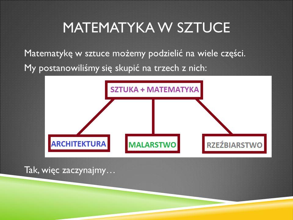 MATEMATYKA W ARCHITEKTURZE Matematyka tworzy solidną podstawę w każdej budowli.
