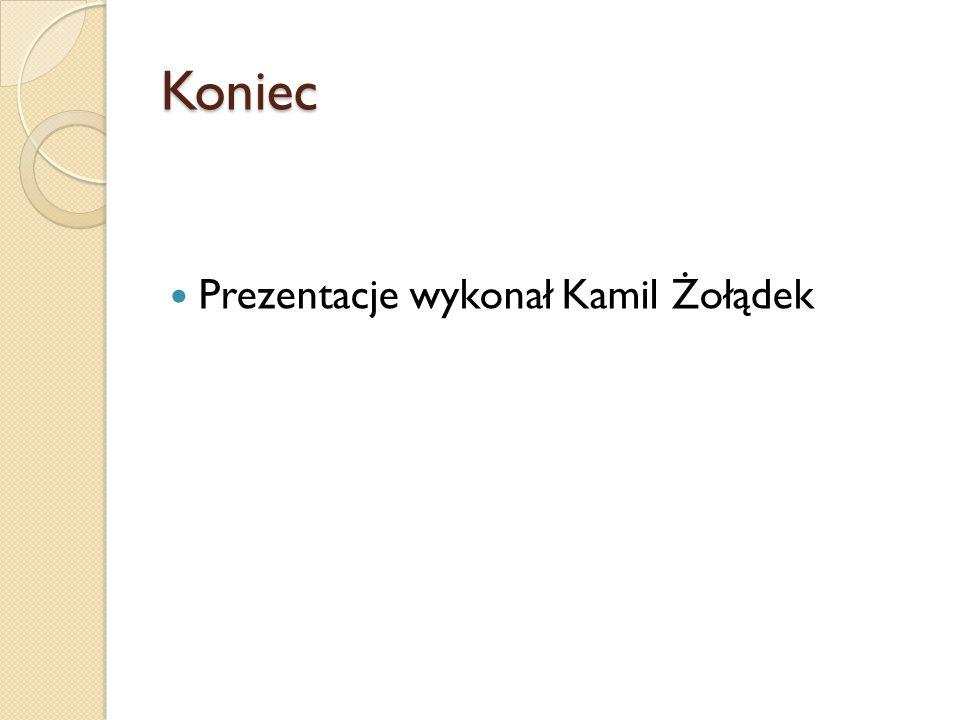 Koniec Prezentacje wykonał Kamil Żołądek