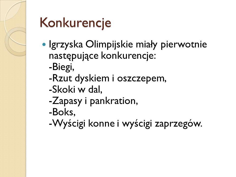 Konkurencje Igrzyska Olimpijskie miały pierwotnie następujące konkurencje: -Biegi, -Rzut dyskiem i oszczepem, -Skoki w dal, -Zapasy i pankration, -Boks, -Wyścigi konne i wyścigi zaprzegów.