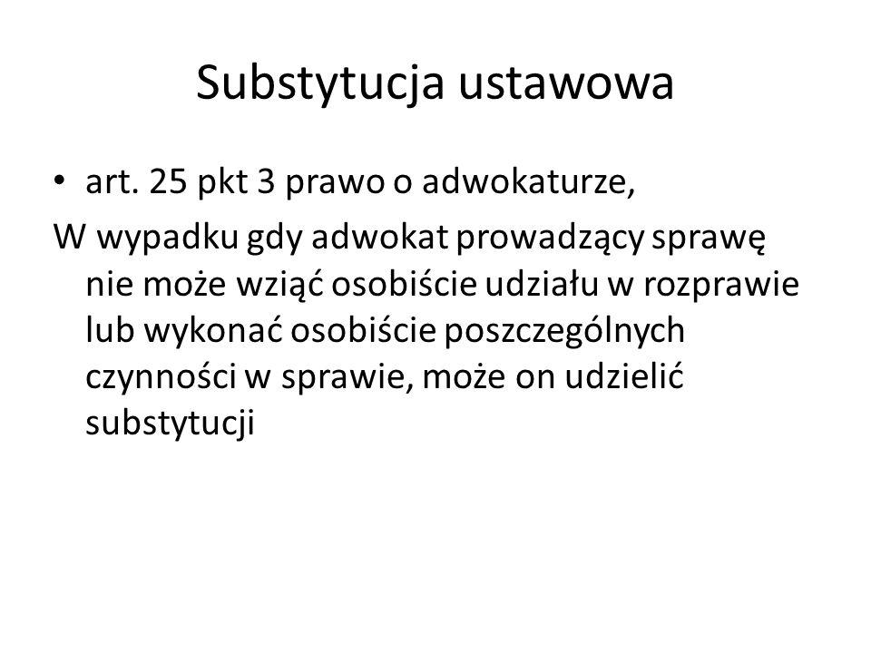 Substytucja ustawowa art. 25 pkt 3 prawo o adwokaturze, W wypadku gdy adwokat prowadzący sprawę nie może wziąć osobiście udziału w rozprawie lub wykon