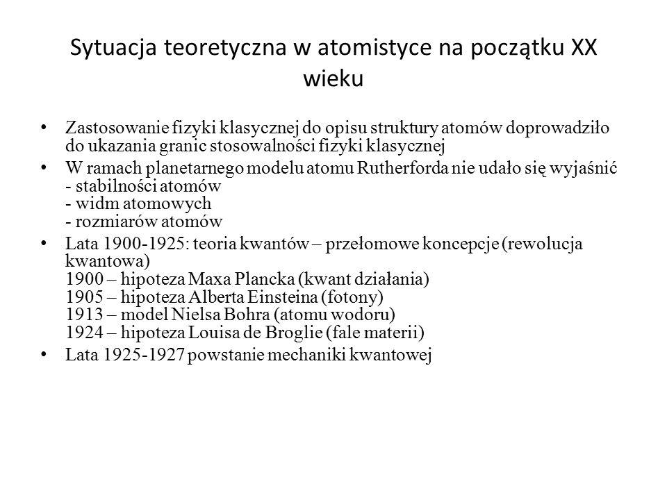 Sytuacja teoretyczna w atomistyce na początku XX wieku Zastosowanie fizyki klasycznej do opisu struktury atomów doprowadziło do ukazania granic stosow
