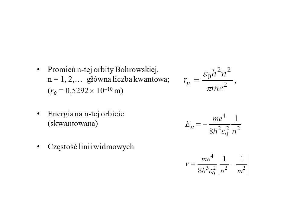 Promień n-tej orbity Bohrowskiej, n = 1, 2,… główna liczba kwantowa; (r 0 = 0,5292  10 –10 m) Energia na n-tej orbicie (skwantowana) Częstość linii w