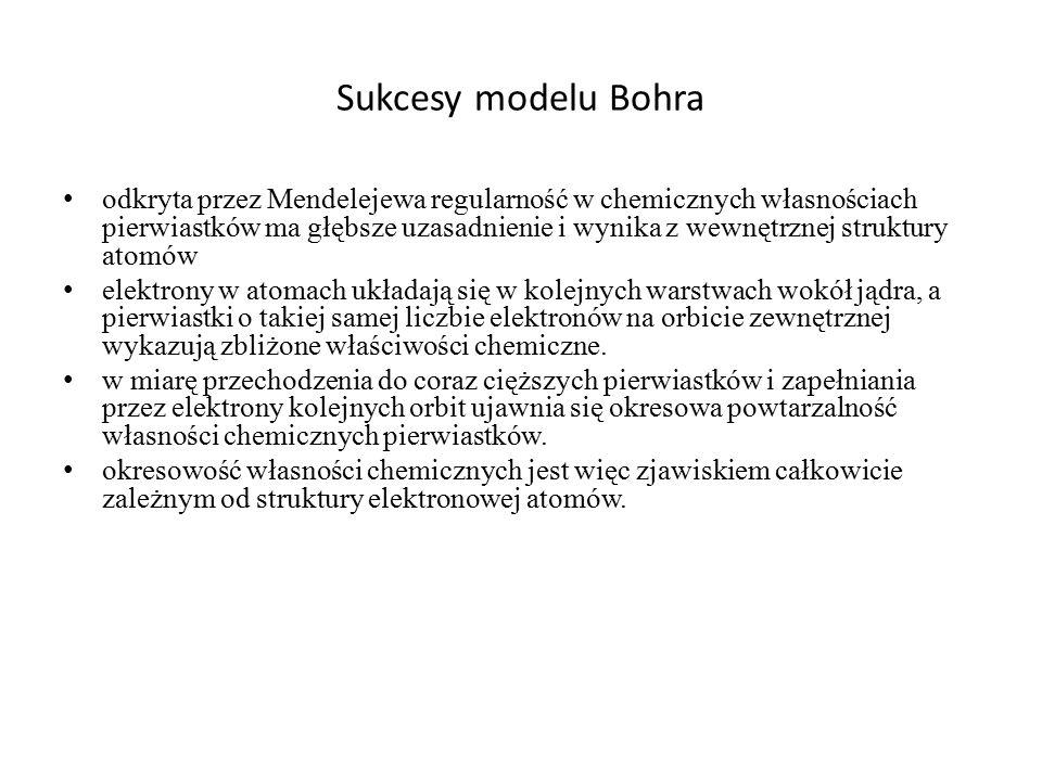 Sukcesy modelu Bohra odkryta przez Mendelejewa regularność w chemicznych własnościach pierwiastków ma głębsze uzasadnienie i wynika z wewnętrznej stru