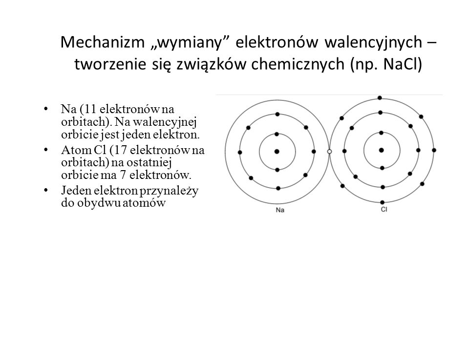 """Mechanizm """"wymiany"""" elektronów walencyjnych – tworzenie się związków chemicznych (np. NaCl) Na (11 elektronów na orbitach). Na walencyjnej orbicie jes"""