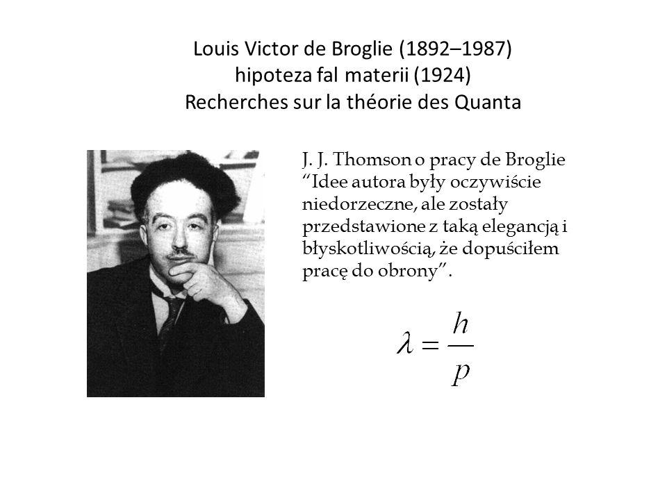 "Louis Victor de Broglie (1892–1987) hipoteza fal materii (1924) Recherches sur la théorie des Quanta J. J. Thomson o pracy de Broglie ""Idee autora był"