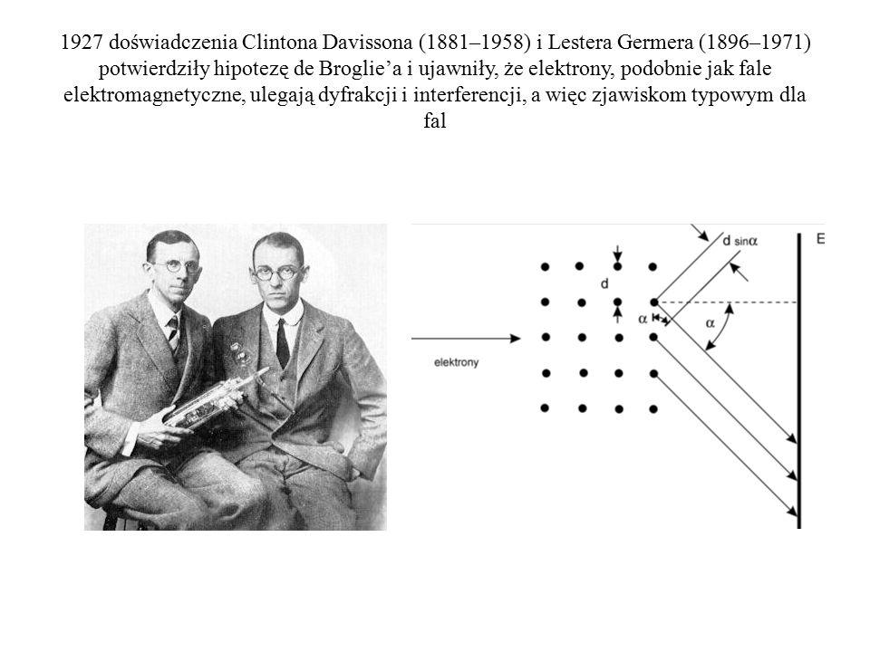 1927 doświadczenia Clintona Davissona (1881–1958) i Lestera Germera (1896–1971) potwierdziły hipotezę de Broglie'a i ujawniły, że elektrony, podobnie