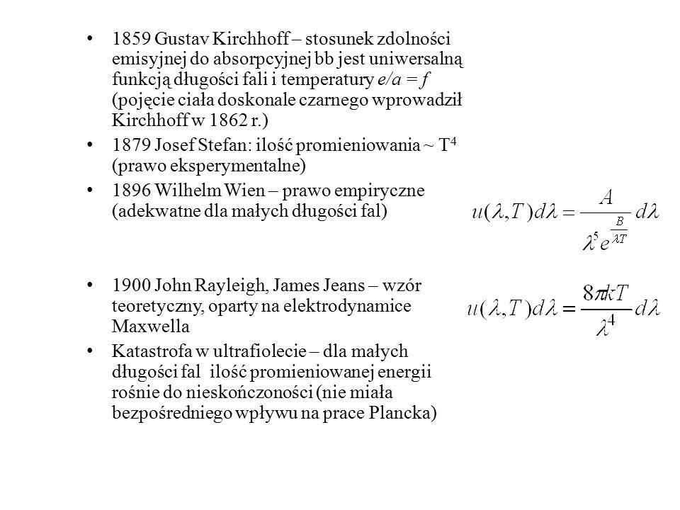 1859 Gustav Kirchhoff – stosunek zdolności emisyjnej do absorpcyjnej bb jest uniwersalną funkcją długości fali i temperatury e/a = f (pojęcie ciała do