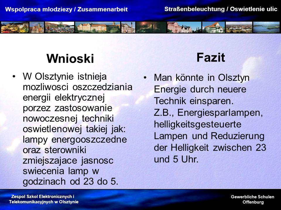 Zespol Szkol Elektronicznych i Telekomunikacyjnych w Olsztynie Gewerbliche Schulen Offenburg Wspolpraca mlodziezy / Zusammenarbeit Wnioski W Olsztynie
