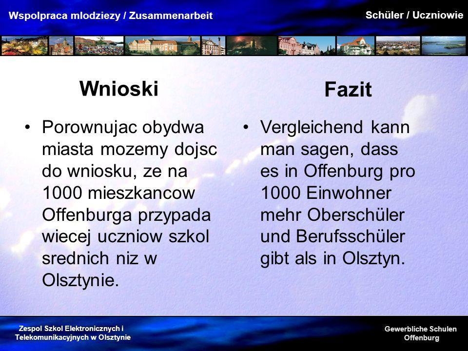 Zespol Szkol Elektronicznych i Telekomunikacyjnych w Olsztynie Gewerbliche Schulen Offenburg Wspolpraca mlodziezy / Zusammenarbeit Wnioski Porownujac