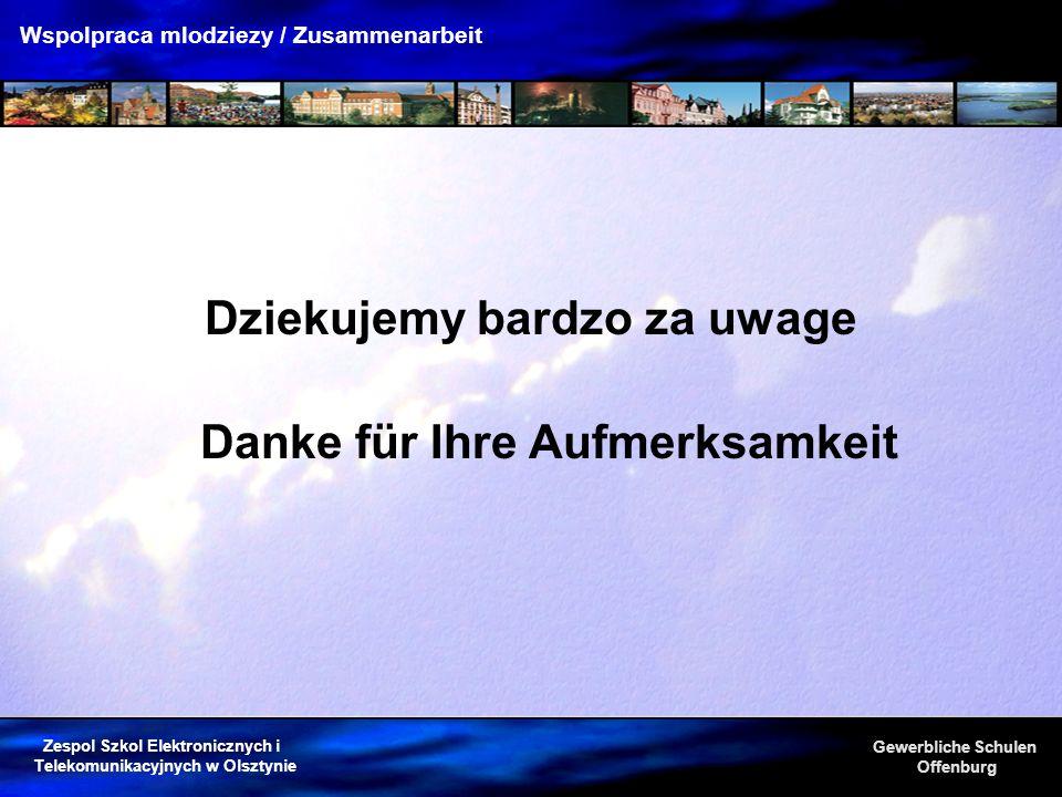 Zespol Szkol Elektronicznych i Telekomunikacyjnych w Olsztynie Gewerbliche Schulen Offenburg Wspolpraca mlodziezy / Zusammenarbeit Danke für Ihre Aufm