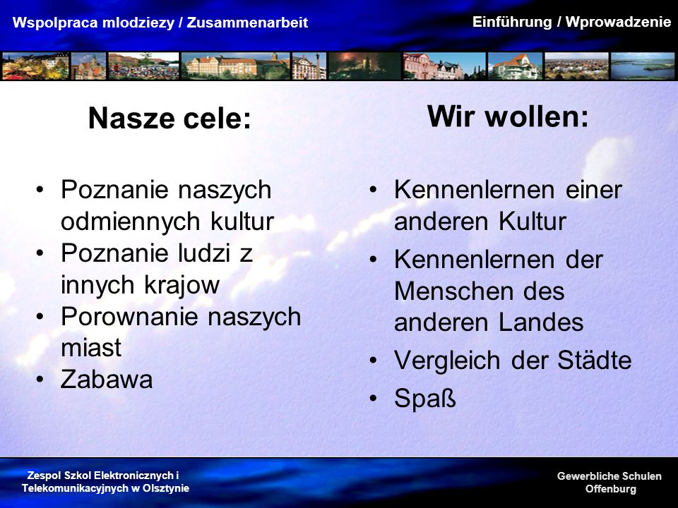 Zespol Szkol Elektronicznych i Telekomunikacyjnych w Olsztynie Gewerbliche Schulen Offenburg Wspolpraca mlodziezy / Zusammenarbeit Wir wollen: Kennenl