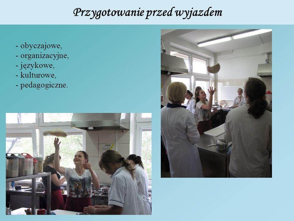 Przygotowanie przed wyjazdem - obyczajowe, - organizacyjne, - językowe, - kulturowe, - pedagogiczne.