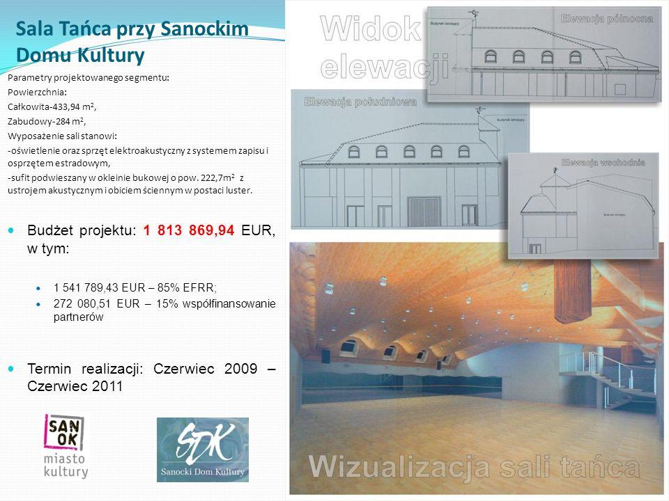 Sala Tańca przy Sanockim Domu Kultury Parametry projektowanego segmentu: Powierzchnia: Całkowita-433,94 m 2, Zabudowy-284 m 2, Wyposażenie sali stanow