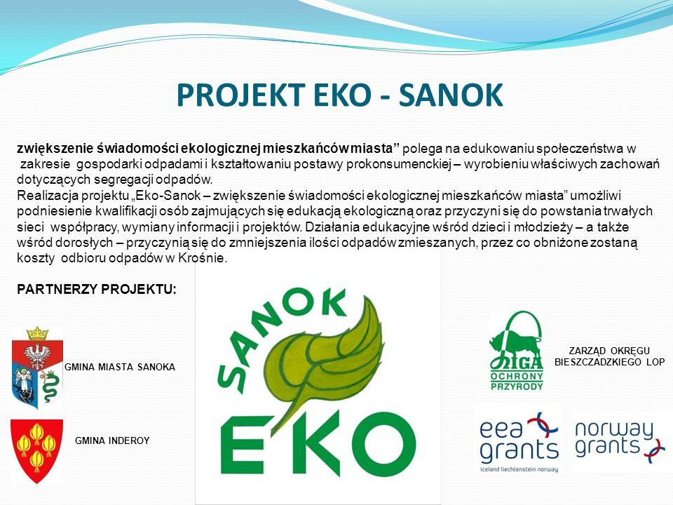 PROJEKT EKO - SANOK Gmina Miasta Sanoka www.sanok.pl zwiększenie świadomości ekologicznej mieszkańców miasta polega na edukowaniu społeczeństwa w zakr