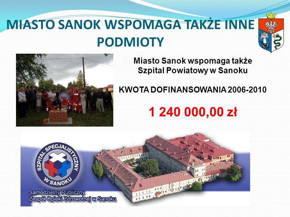 MIASTO SANOK WSPOMAGA TAKŻE INNE PODMIOTY Miasto Sanok wspomaga także Szpital Powiatowy w Sanoku KWOTA DOFINANSOWANIA 2006-2010 1 240 000,00 zł