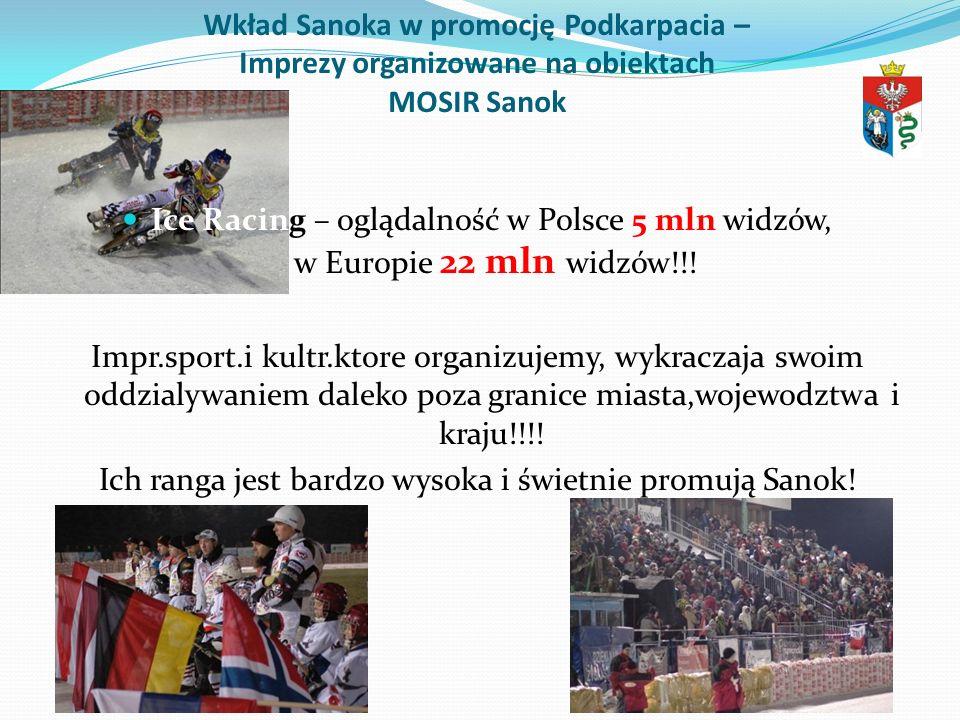 Wkład Sanoka w promocję Podkarpacia – Imprezy organizowane na obiektach MOSIR Sanok Ice Racing – oglądalność w Polsce 5 mln widzów, w Europie 22 mln w
