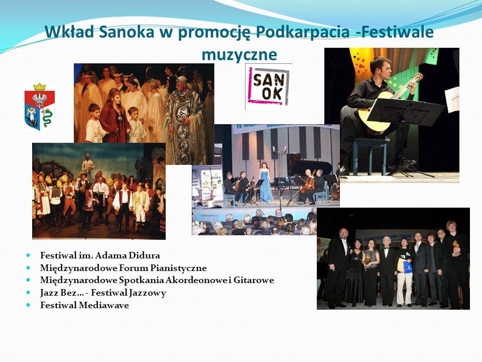 Wkład Sanoka w promocję Podkarpacia -Festiwale muzyczne Festiwal im. Adama Didura Międzynarodowe Forum Pianistyczne Międzynarodowe Spotkania Akordeono