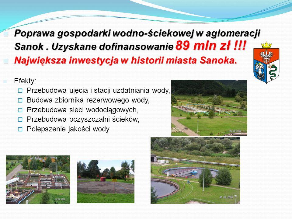 Poprawa gospodarki wodno-ściekowej w aglomeracji Sanok. Uzyskane dofinansowanie 89 mln zł !!! Poprawa gospodarki wodno-ściekowej w aglomeracji Sanok.