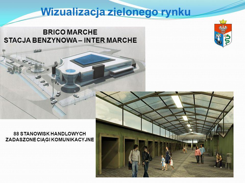 Wizualizacja zielonego rynku BRICO MARCHE STACJA BENZYNOWA – INTER MARCHE 88 STANOWISK HANDLOWYCH ZADASZONE CIĄGI KOMUNIKACYJNE