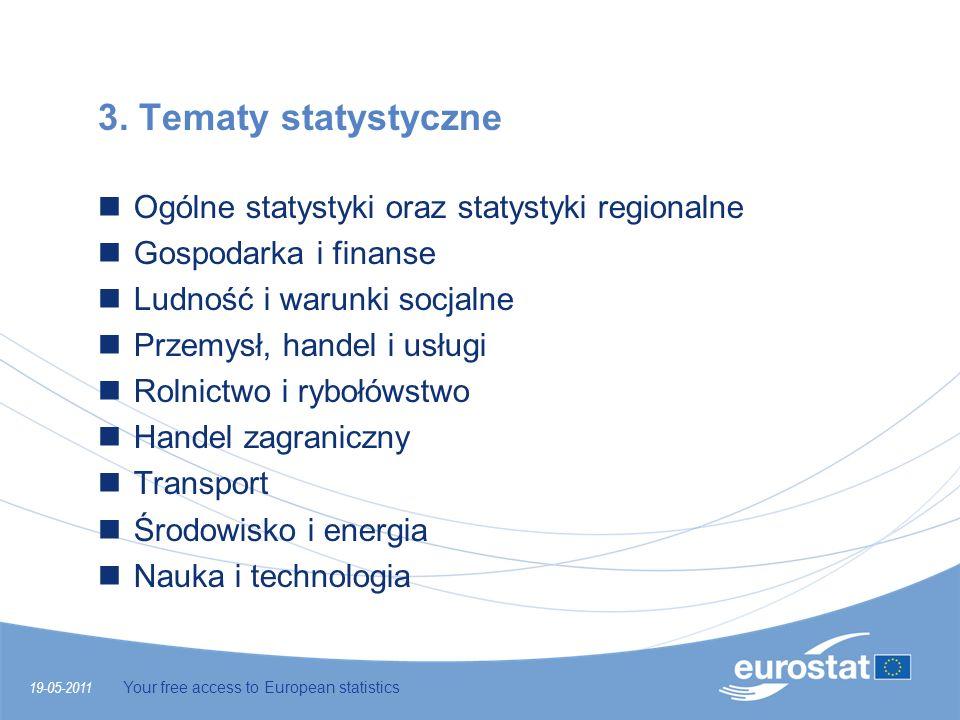 19-05-2011 Your free access to European statistics 3. Tematy statystyczne Ogólne statystyki oraz statystyki regionalne Gospodarka i finanse Ludność i