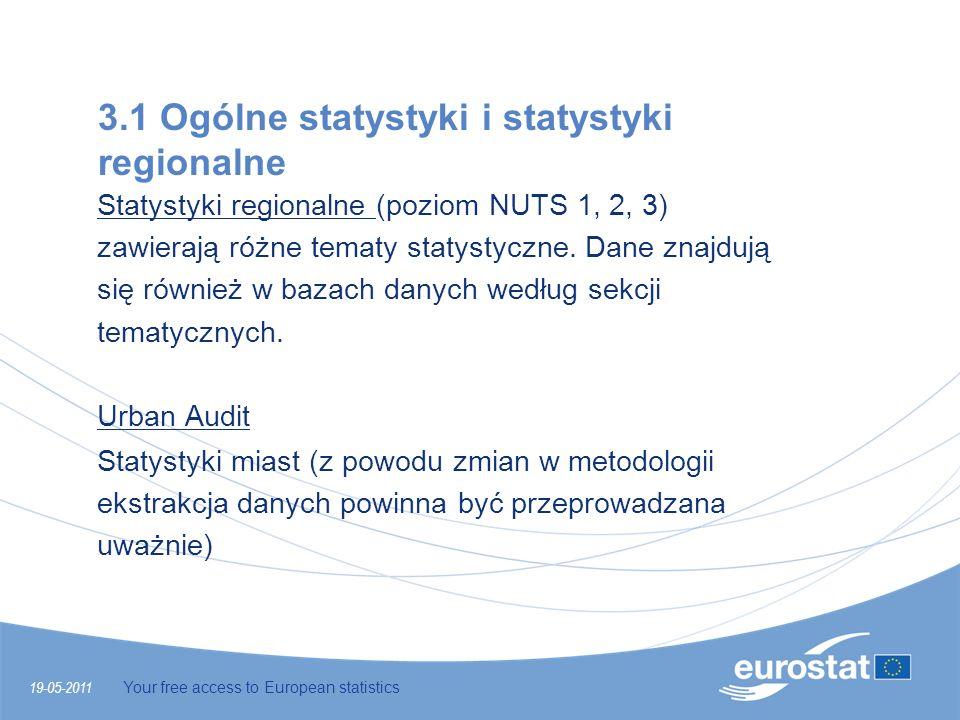 19-05-2011 Your free access to European statistics 3.1 Ogólne statystyki i statystyki regionalne Statystyki regionalne (poziom NUTS 1, 2, 3) zawierają