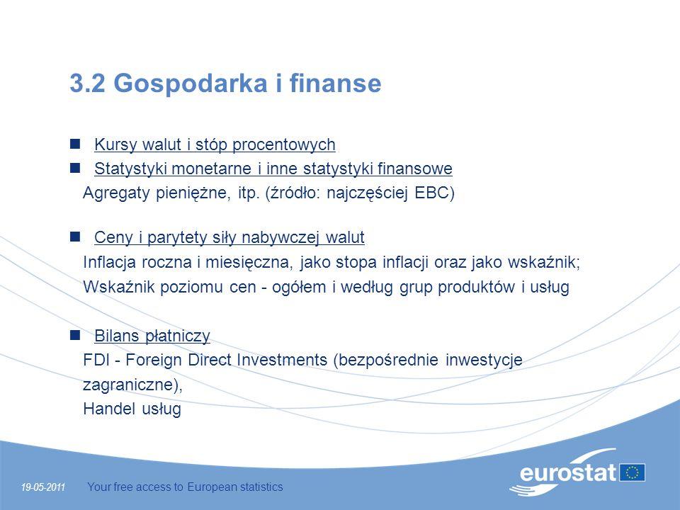 19-05-2011 Your free access to European statistics 3.2 Gospodarka i finanse Kursy walut i stóp procentowych Statystyki monetarne i inne statystyki fin