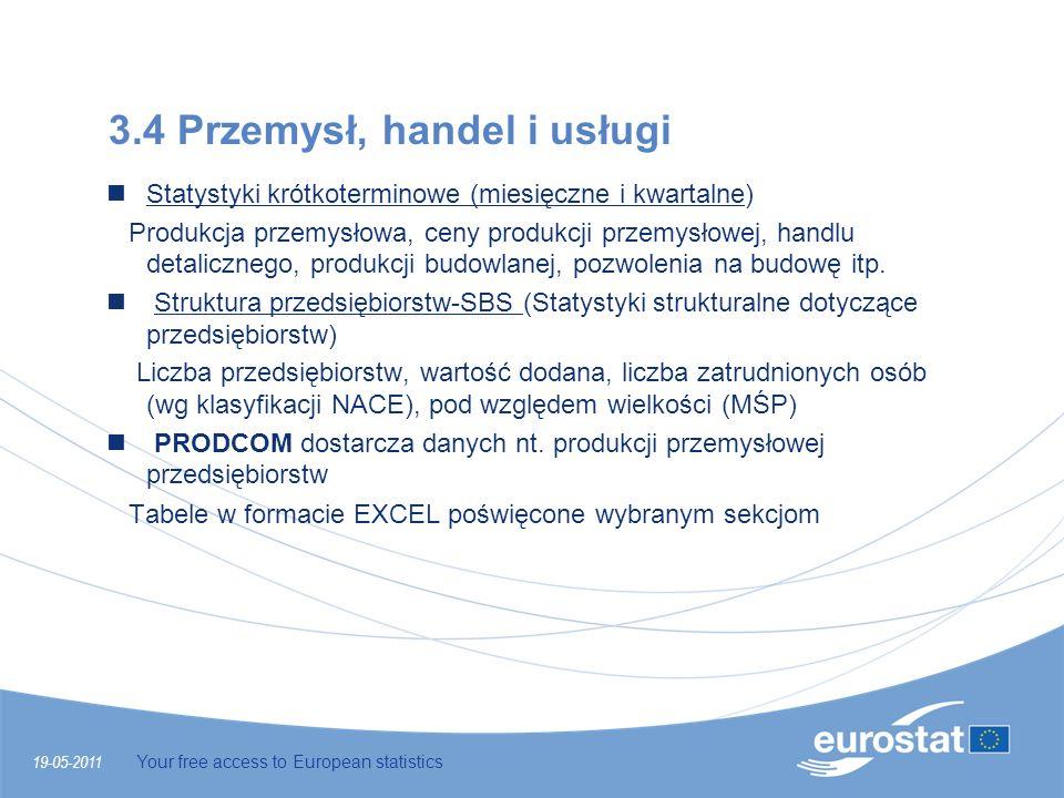 19-05-2011 Your free access to European statistics 3.4 Przemysł, handel i usługi Statystyki krótkoterminowe (miesięczne i kwartalne) Produkcja przemys