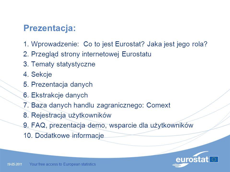 19-05-2011 Your free access to European statistics Prezentacja: 1. Wprowadzenie: Co to jest Eurostat? Jaka jest jego rola? 2. Przegląd strony internet