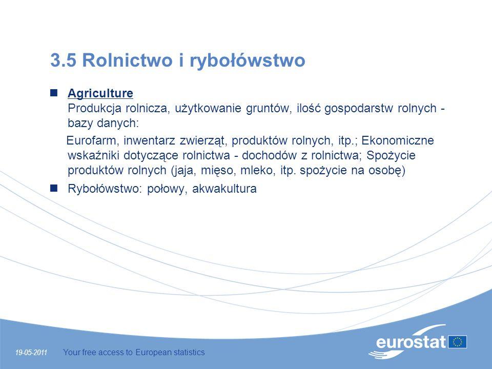 19-05-2011 Your free access to European statistics 3.5 Rolnictwo i rybołówstwo Agriculture Produkcja rolnicza, użytkowanie gruntów, ilość gospodarstw