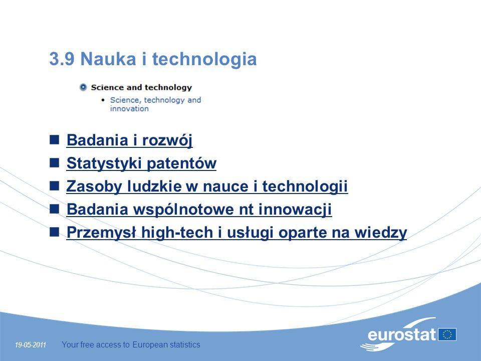 19-05-2011 Your free access to European statistics 3.9 Nauka i technologia Badania i rozwój Statystyki patentów Zasoby ludzkie w nauce i technologii B