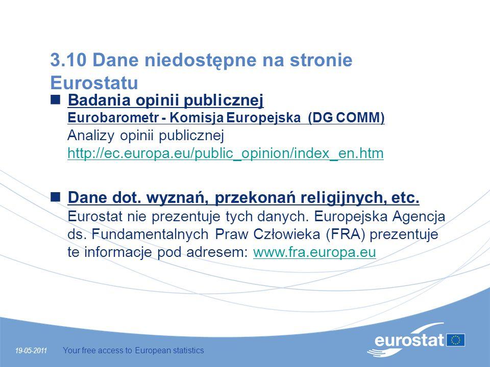 19-05-2011 Your free access to European statistics 3.10 Dane niedostępne na stronie Eurostatu Badania opinii publicznej Eurobarometr - Komisja Europej