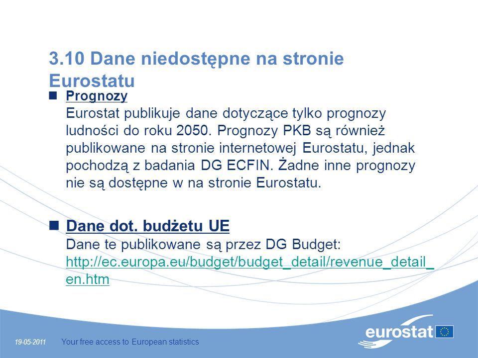 19-05-2011 Your free access to European statistics 3.10 Dane niedostępne na stronie Eurostatu Prognozy Eurostat publikuje dane dotyczące tylko prognoz