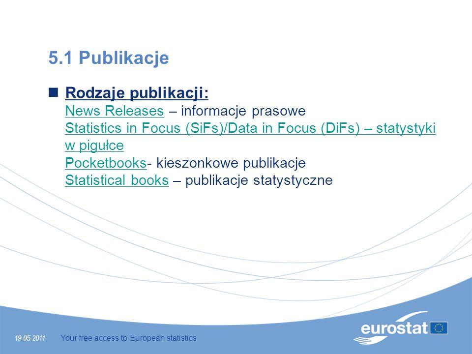 19-05-2011 Your free access to European statistics 5.1 Publikacje Rodzaje publikacji: News Releases – informacje prasowe Statistics in Focus (SiFs)/Da