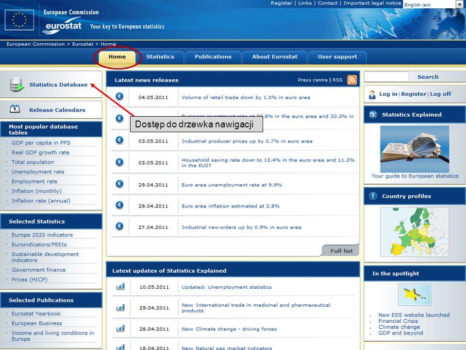 19-05-2011 Your free access to European statistics Dostęp do drzewka nawigacji