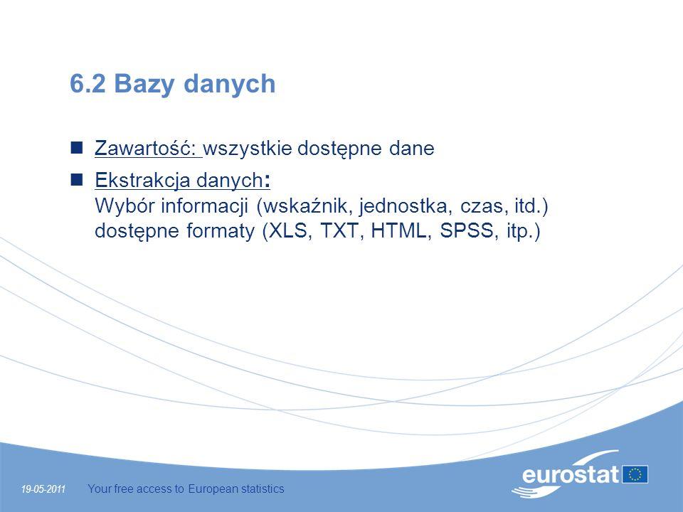 19-05-2011 Your free access to European statistics 6.2 Bazy danych Zawartość: wszystkie dostępne dane Ekstrakcja danych : Wybór informacji (wskaźnik,