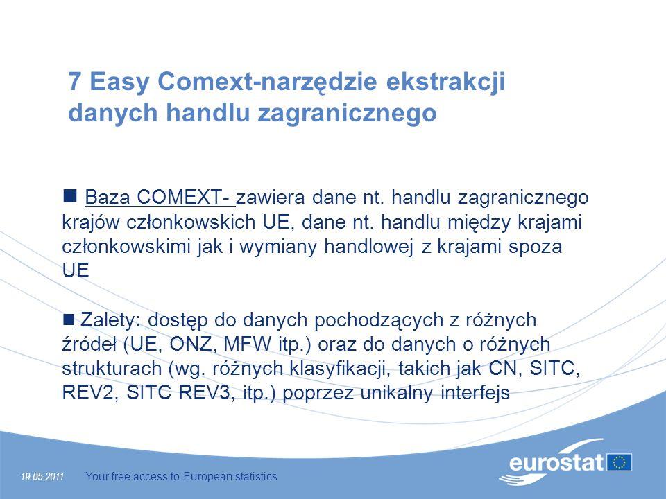 19-05-2011 Your free access to European statistics 7 Easy Comext-narzędzie ekstrakcji danych handlu zagranicznego Baza COMEXT- zawiera dane nt. handlu