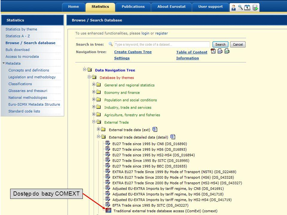 19-05-2011 Your free access to European statistics Dostęp do bazy COMEXT