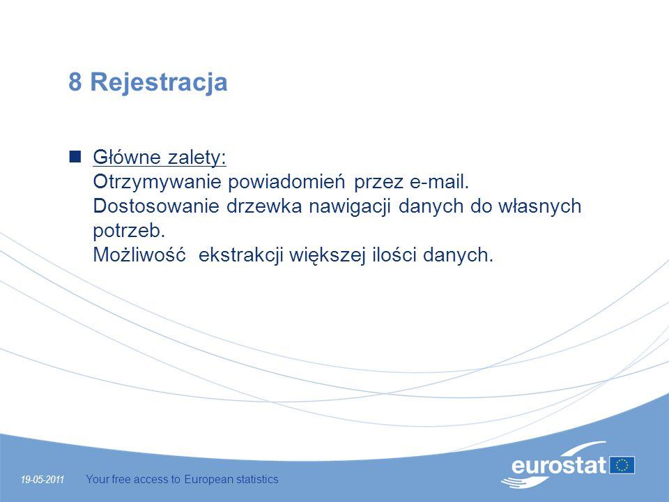 19-05-2011 Your free access to European statistics 8 Rejestracja Główne zalety: Otrzymywanie powiadomień przez e-mail. Dostosowanie drzewka nawigacji