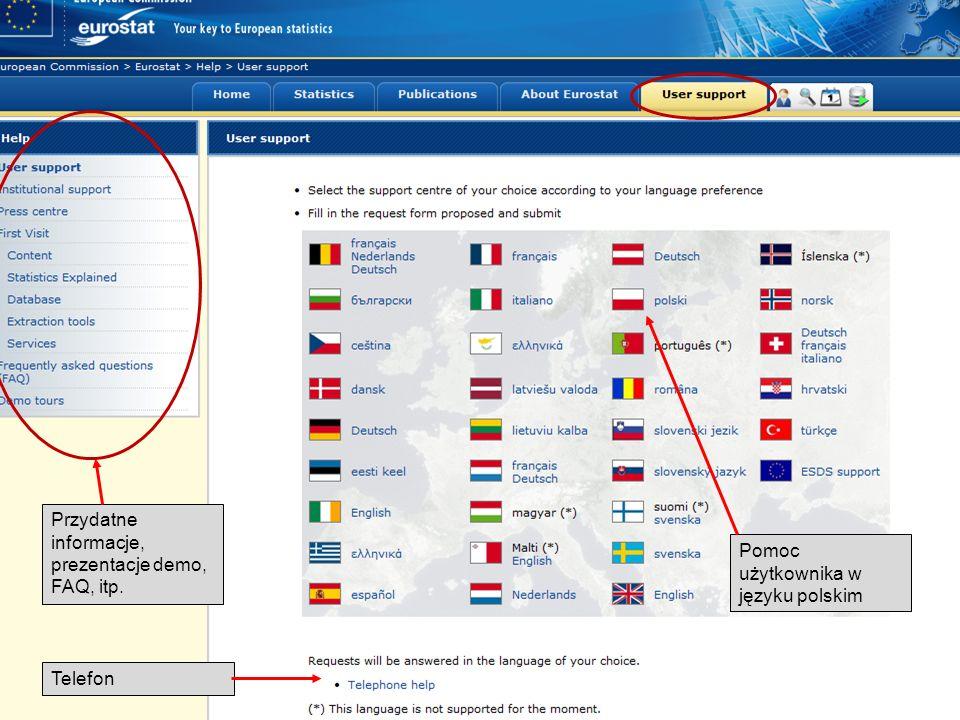 19-05-2011 Your free access to European statistics Pomoc użytkownika w języku polskim Telefon Przydatne informacje, prezentacje demo, FAQ, itp.