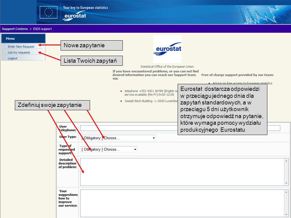 19-05-2011 Your free access to European statistics Nowe zapytanie Lista Twoich zapytań Eurostat dostarcza odpowiedzi w przeciągu jednego dnia dla zapy