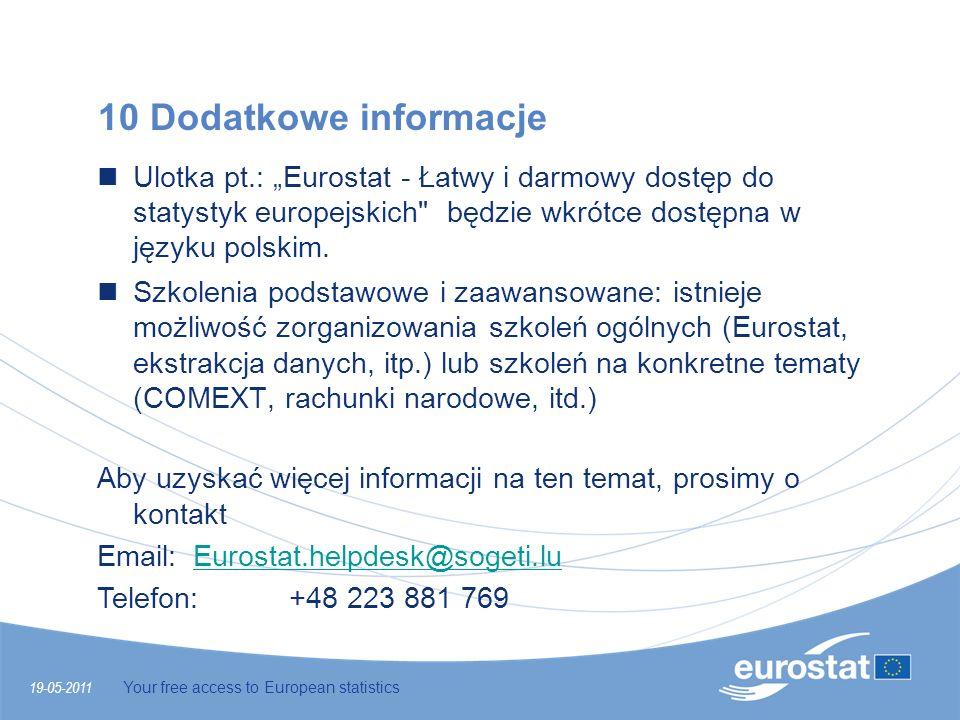 10 Dodatkowe informacje Ulotka pt.: Eurostat - Łatwy i darmowy dostęp do statystyk europejskich
