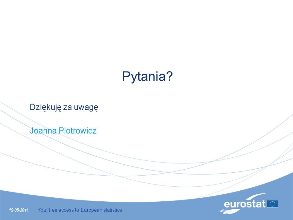 19-05-2011 Your free access to European statistics Pytania? Dziękuję za uwagę Joanna Piotrowicz