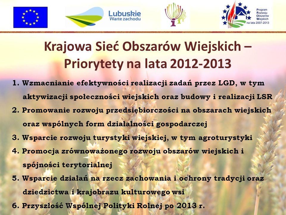Krajowa Sieć Obszarów Wiejskich – Priorytety na lata 2012-2013 1. Wzmacnianie efektywności realizacji zadań przez LGD, w tym aktywizacji społeczności