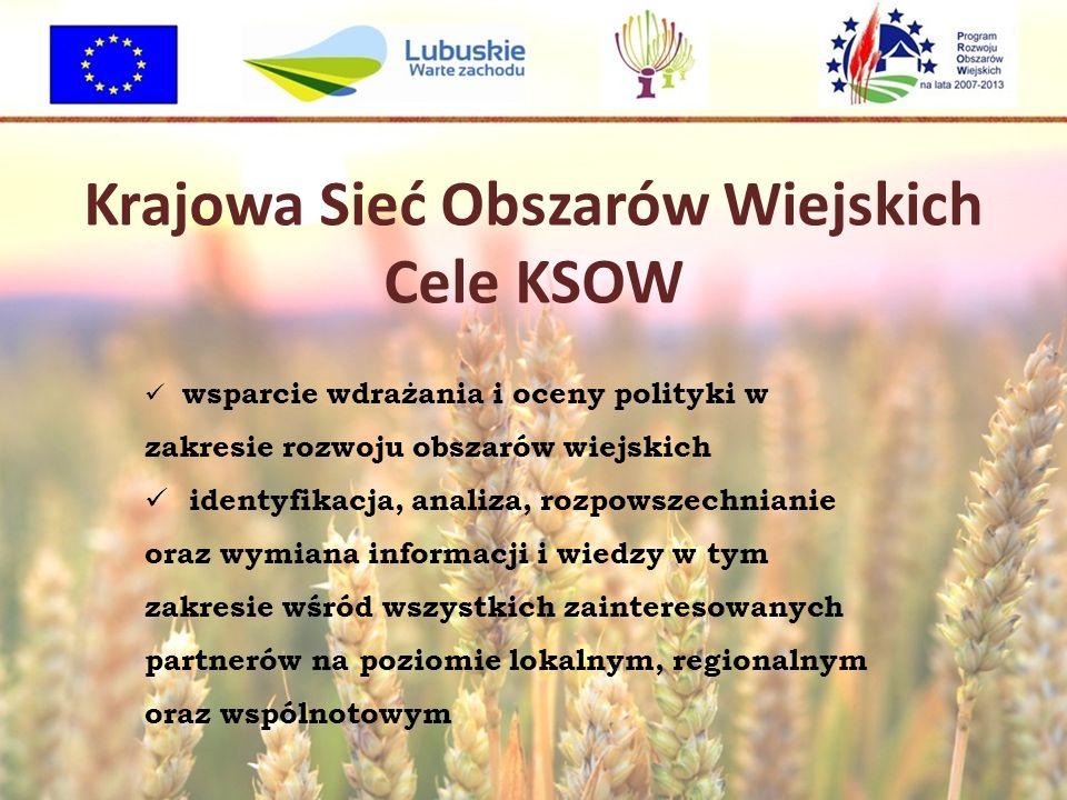 Krajowa Sieć Obszarów Wiejskich Cele KSOW wsparcie wdrażania i oceny polityki w zakresie rozwoju obszarów wiejskich identyfikacja, analiza, rozpowszechnianie oraz wymiana informacji i wiedzy w tym zakresie wśród wszystkich zainteresowanych partnerów na poziomie lokalnym, regionalnym oraz wspólnotowym