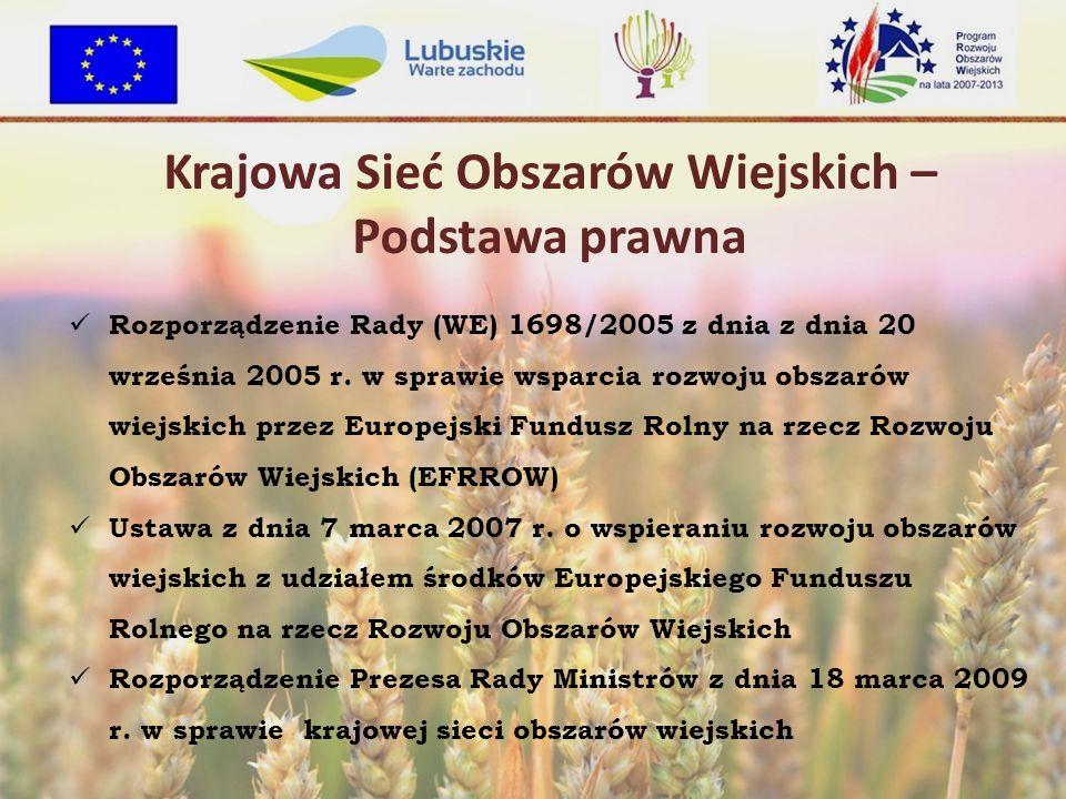 Krajowa Sieć Obszarów Wiejskich – Podstawa prawna Rozporządzenie Rady (WE) 1698/2005 z dnia z dnia 20 września 2005 r.