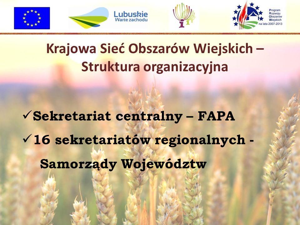 Krajowa Sieć Obszarów Wiejskich – Struktura organizacyjna Sekretariat centralny – FAPA 16 sekretariatów regionalnych - Samorządy Województw