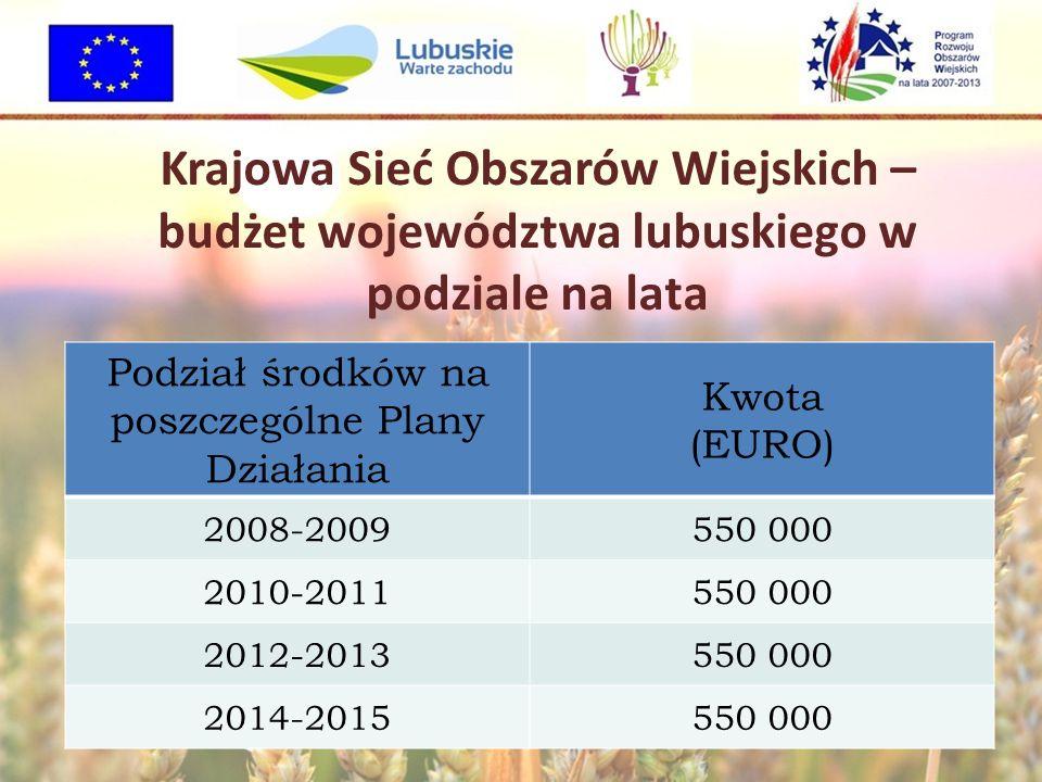 Krajowa Sieć Obszarów Wiejskich – budżet województwa lubuskiego w podziale na lata Podział środków na poszczególne Plany Działania Kwota (EURO) 2008-2009550 000 2010-2011550 000 2012-2013550 000 2014-2015550 000